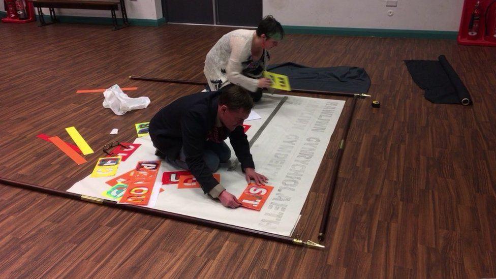 Making banners at Neuadd Ogwen in Bethesda