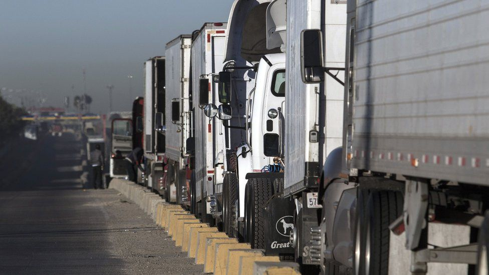 Trucks line up to cross the border with the United States at Otay Mesa Commercial Port of Entry in Tijuana, Mexico on January 22, 2018.