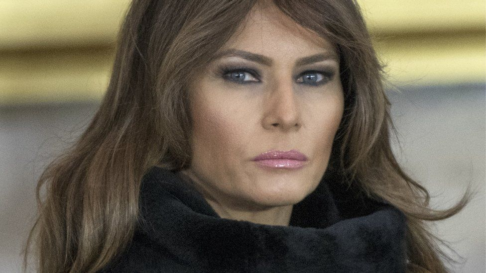 First lady Melania Trump attends a ceremony for American evangelist Billy Graham as he lies in honor in the Rotunda of the US Capitol in Washington, DC, USA, 28 February 2018.