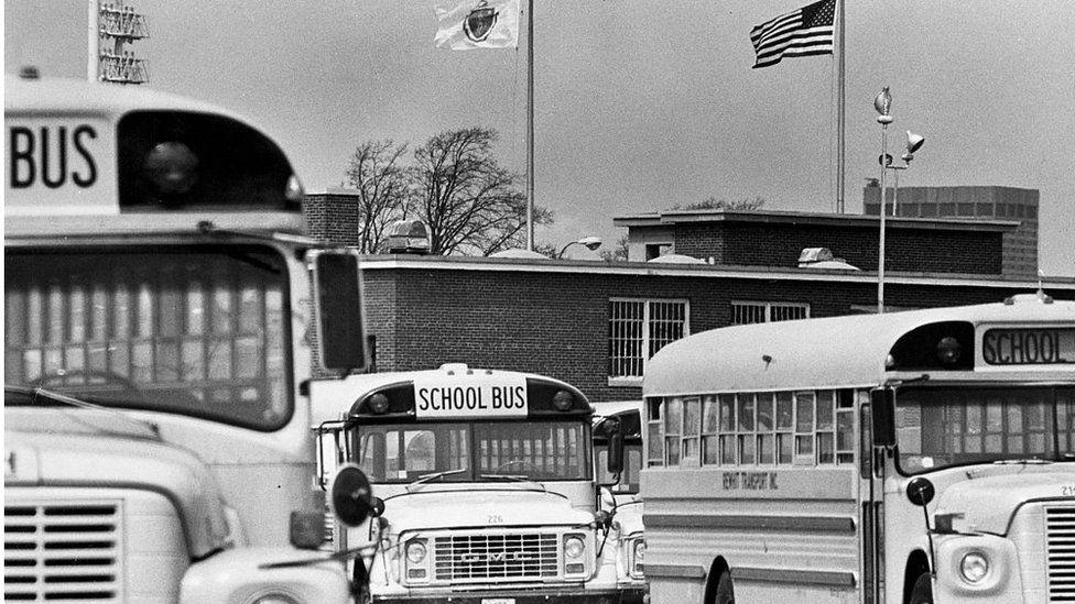 School buses in 1974
