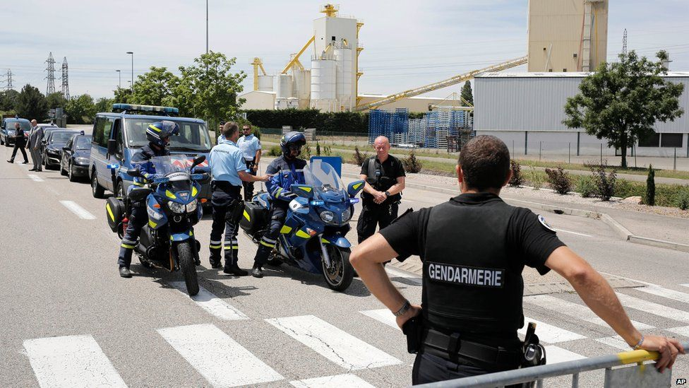 Police outside the factory in Saint-Quentin-Fallavier, Lyon, France, on 26 June 2015