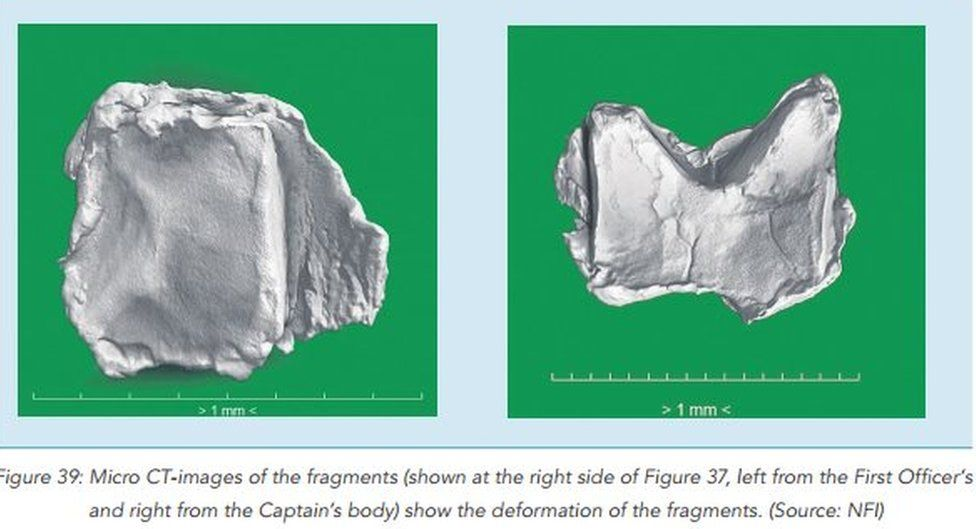 Fragments from warhead found inside bodies of two crew-members