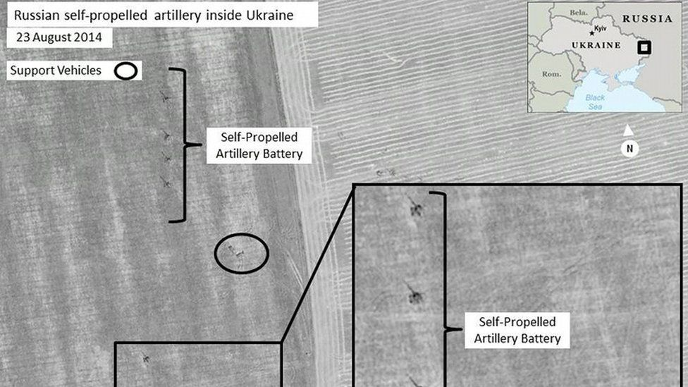 Satellite images from August 2014 purportedly showing Russian combat forces in Ukraine