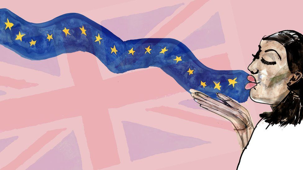 Illustration of a woman blowing a kiss outwards with the EU flag emanating from it, and a UK flag in the background