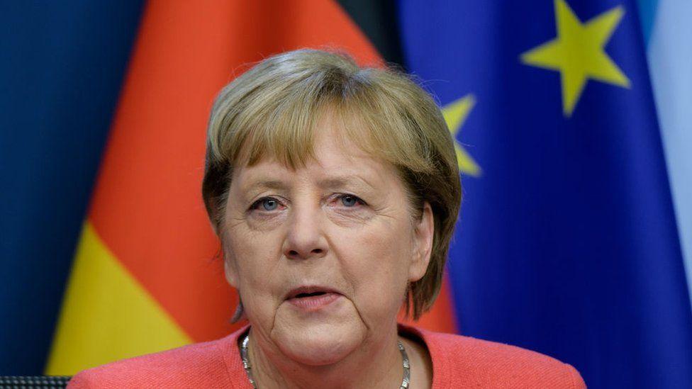 German Chancellor Angela Merkel at EU Council headquarter on October 2, 2020