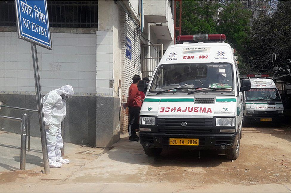 A doctor seen wearing protective suit to protect himself form coronavirus epidemic in the country, at RML Hospital on March 16, 2020 in New Delhi, India