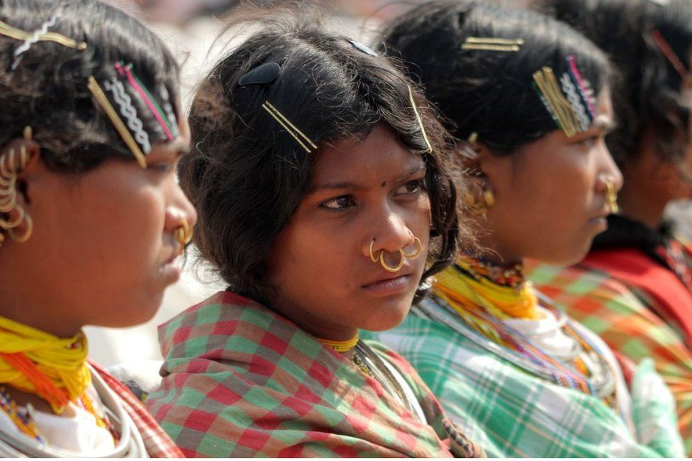 Dongria caste tribal girls in the eastern Indian state of Orissa on 8 February 2019.