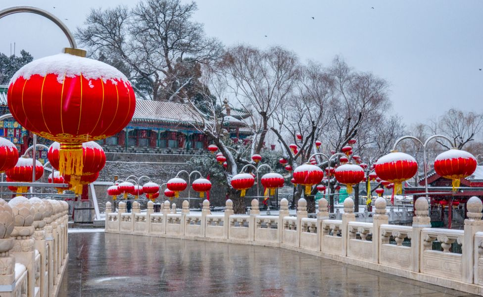 Lanterns in a park in Beijing, China. Photo: February 2020