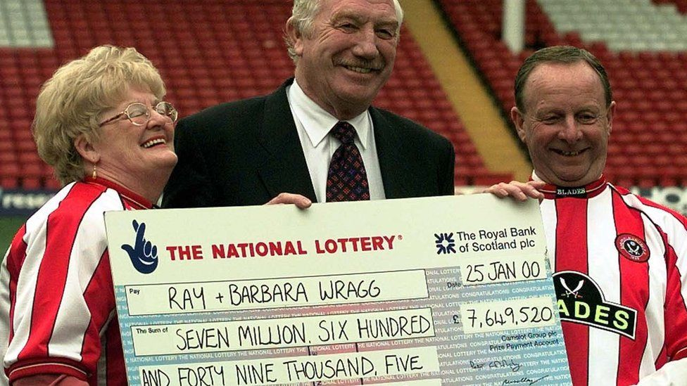 Ray and Barbara Wragg were presented with a £7.6m cheque at Sheffield United's Bramall Lane ground