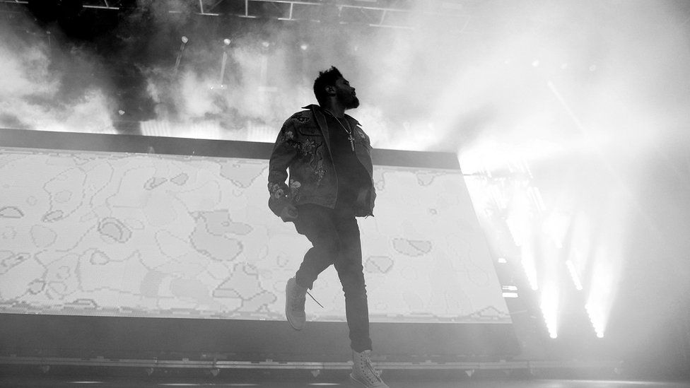 The Weeknd performing at Coachella in 2017