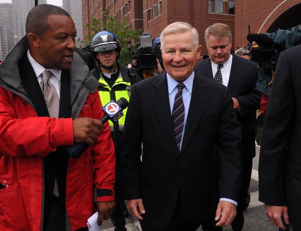 Former Massachusetts Senator William Bulger speaks to TV reporters