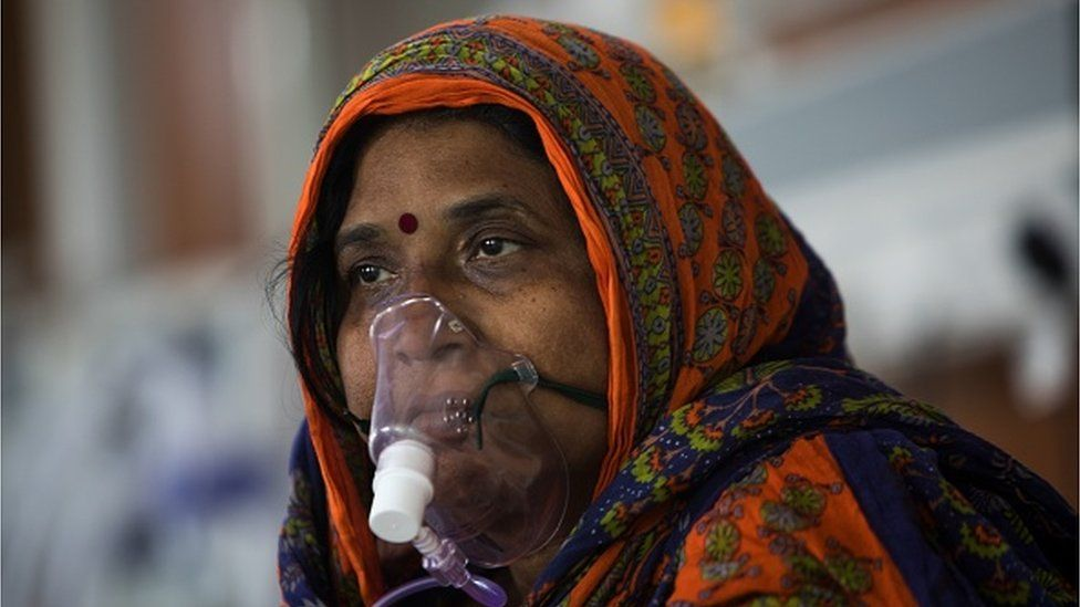 Indian woman on oxygen