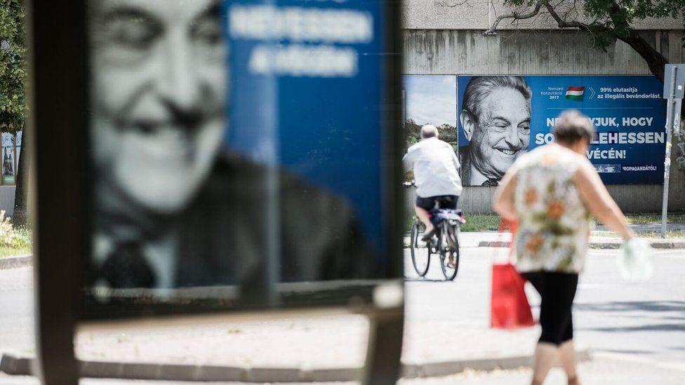 Poster showing George Soros