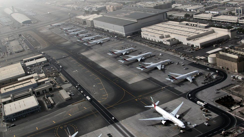 An aerial view shows Dubai international airport, home to the national carrier Emirates Airways, on May 27, 2012.