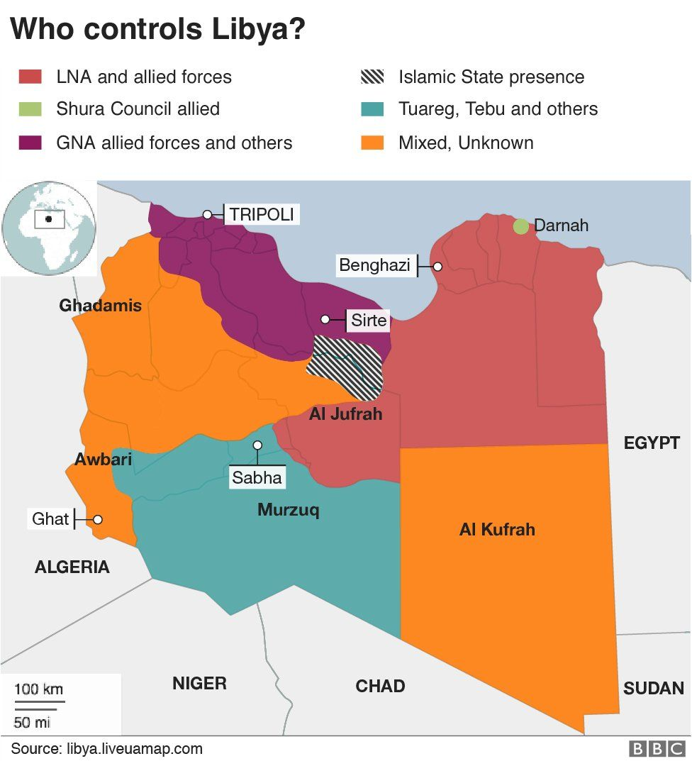 Map of who controls different parts of Libya
