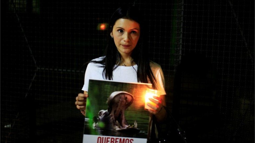 A woman takes part in protest against the death of hippo Gustavito in El Salvador, 27 Feb 2017