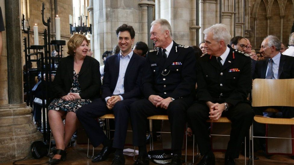 Karen Buck MP, former Labour leader Ed Miliband, Metropolitan Police Commissioner Sir Bernard Hogan-Howe and London Fire Brigade Commissioner Ron Dobson