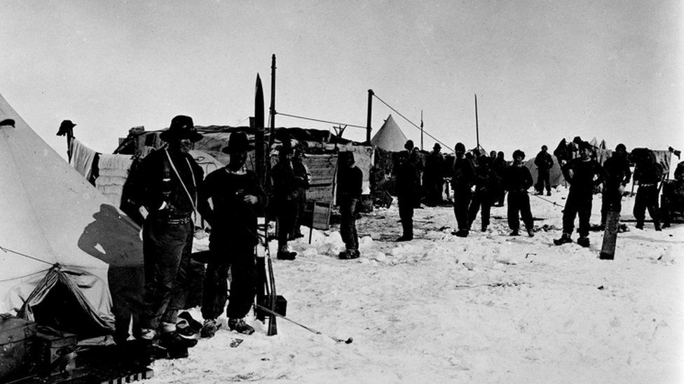 Sir Ernest Shackleton and his team on the pack ice after the Endurance sank