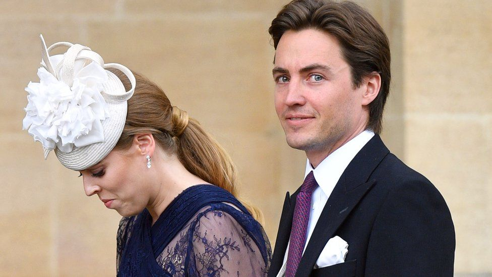 Princess Beatrice and Edoardo Mapelli Mozzi attend the wedding of Lady Gabriella Windsor and Thomas Kingston at St George's Chapel on May 18, 2019