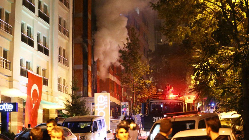 Smoke comes from HDP headquarters after attack by nationalist demonstrators in Ankara. 8 Sept 2015