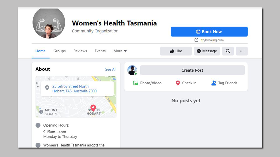 """The Women's Health Tazmania Facebook page with """"no posts yet"""" message"""
