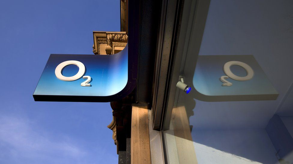O2 sign outside store in central London