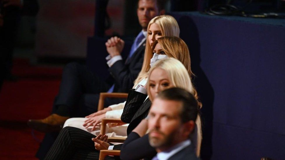 (From top) Eric Trump, son of the US President, daughter and Senior Advisor to the US President Ivanka Trump, US First Lady Melania Trump, daughter of the US President Tiffany Trump and Donald Trump Jr., son of the US President, are seen ahead of the first presidential debate at the Case Western Reserve University and Cleveland Clinic in Cleveland, Ohio on September 29, 2020