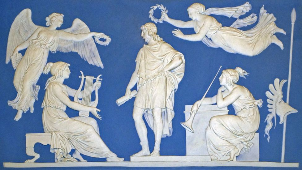 A blue Wedgwood Jasperware plaque from 1787 depicting The Apotheosis of Virgil