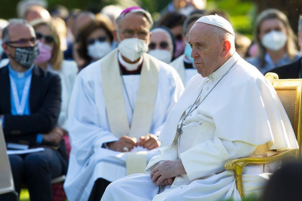 Pope Francis leads a Rosary Prayer in the Vatican Gardens, on May 31, 2021 in Vatican City