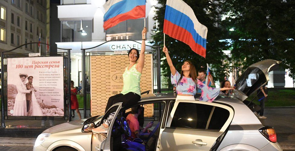 Russians celebrate in Moscow's Red Square on 1 July