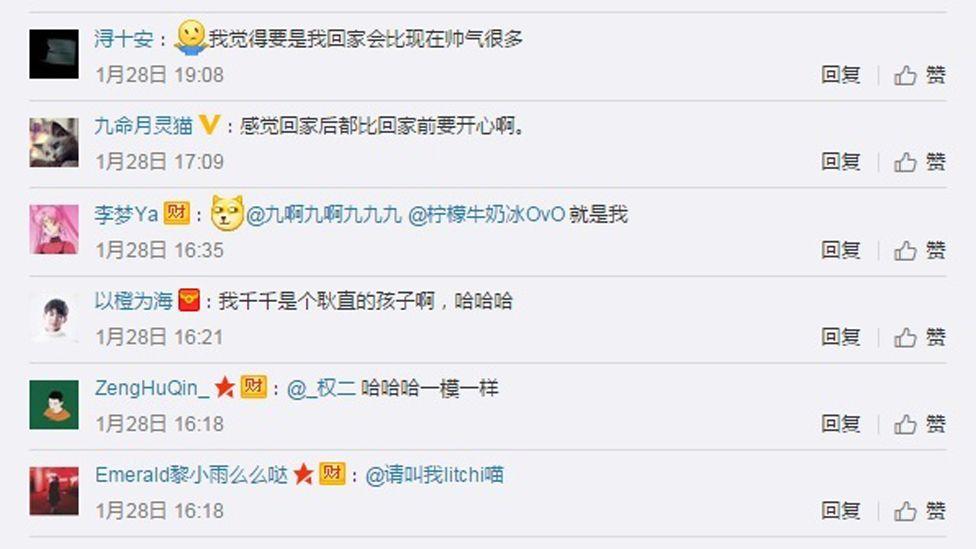 Screengrab from a Sina Weibo account