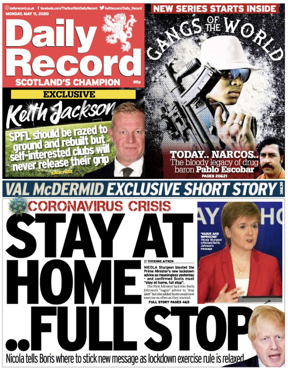 Scotland S Papers Sturgeon And Johnson Split Over Lockdown Bbc News
