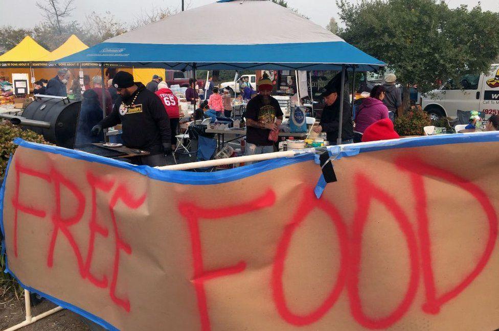 Volunteers prepare food in Chico, California
