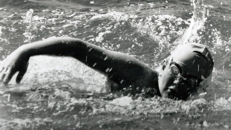Tom Gregory swimming the English Channel in 1988 - aged 11