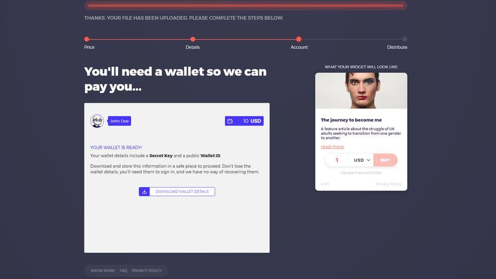 A screenshot of the Bitcache service demo