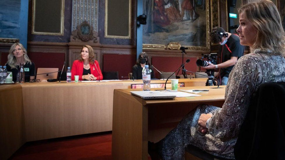 Swedish former Elite model Ebba Karlsson, British ex-BBC journalist Lisa Brinkworth, Dutch former model Thysia Huisman, and Sonia, an anonymous victim, attend a video conference on violence against women in the fashion industry, at the Senate, in Paris on September 14, 2021
