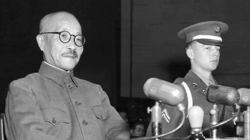 Hideki Tojo takes the stand for the first time during the International Tribunal trials in Tokyo, Japan, 1947