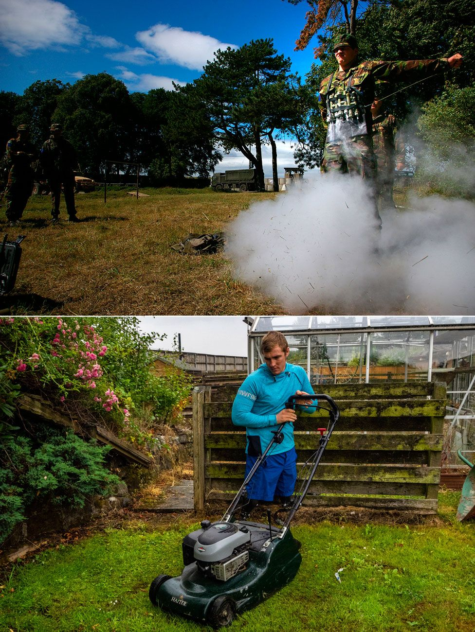 Photos showing Scotty Meenagh in the army and mowing the lawn as a civilian