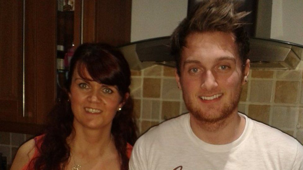 Tina with her son James, a Swansea University student