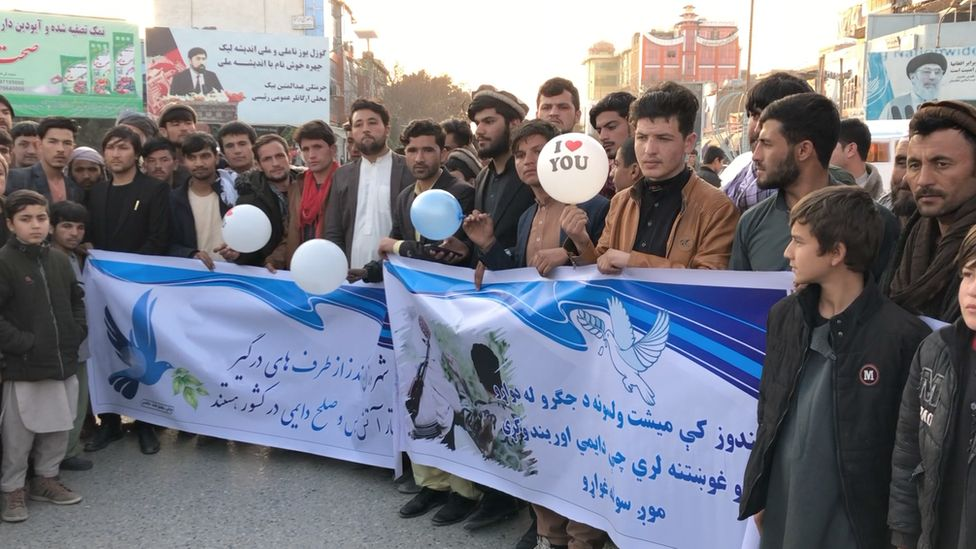 A protest in support of peace in Kunduz