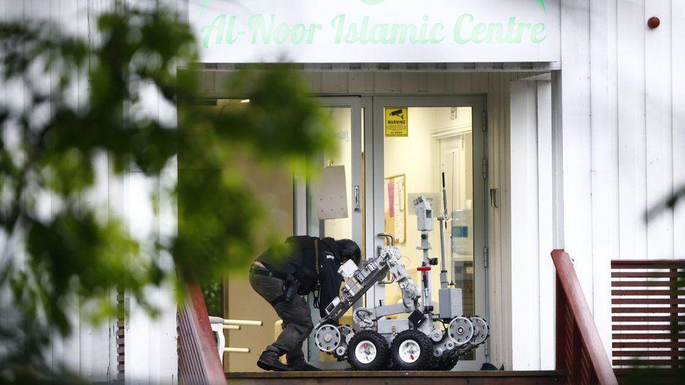 A robot outside the Al-Noor Islamic Centre