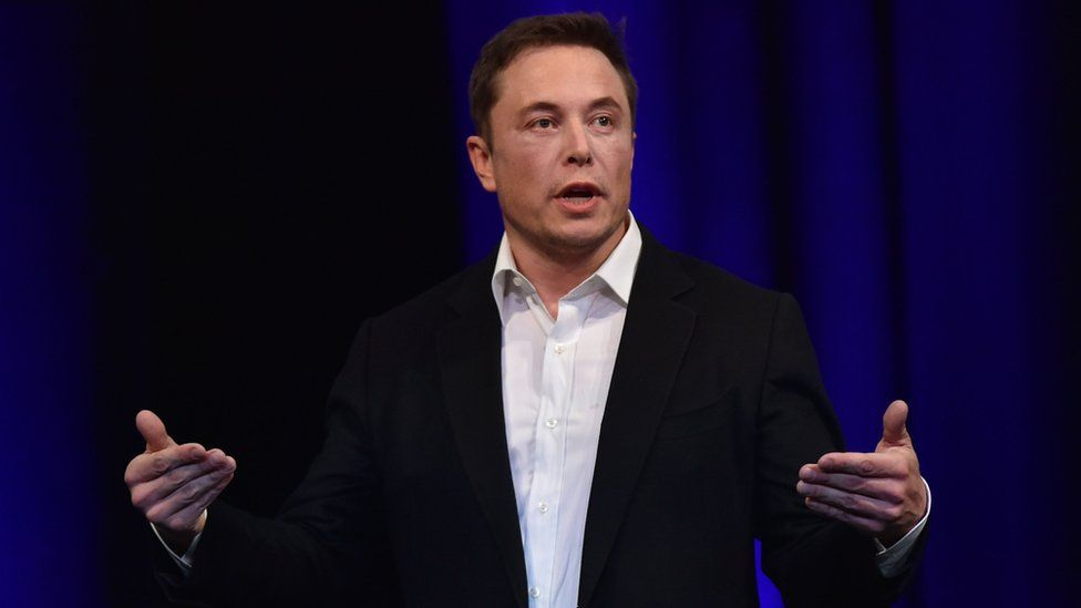 File photo dated 29 September 2017 shows billionaire entrepreneur and founder of SpaceX Elon Musk speaking at the 68th International Astronautical Congress 2017 in Adelaide.