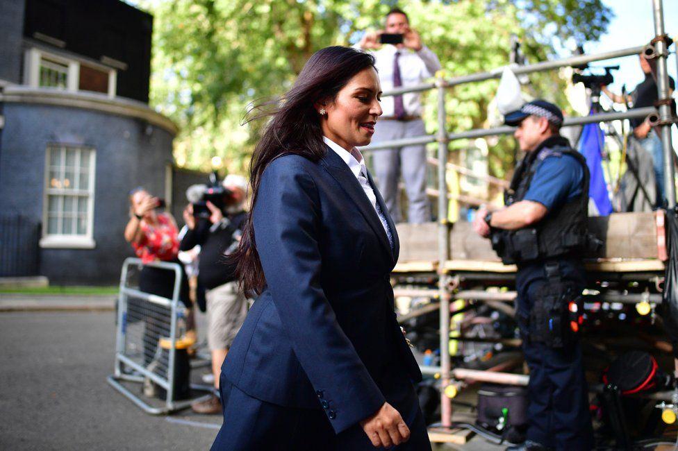 Priti Patel leaves Downing Street