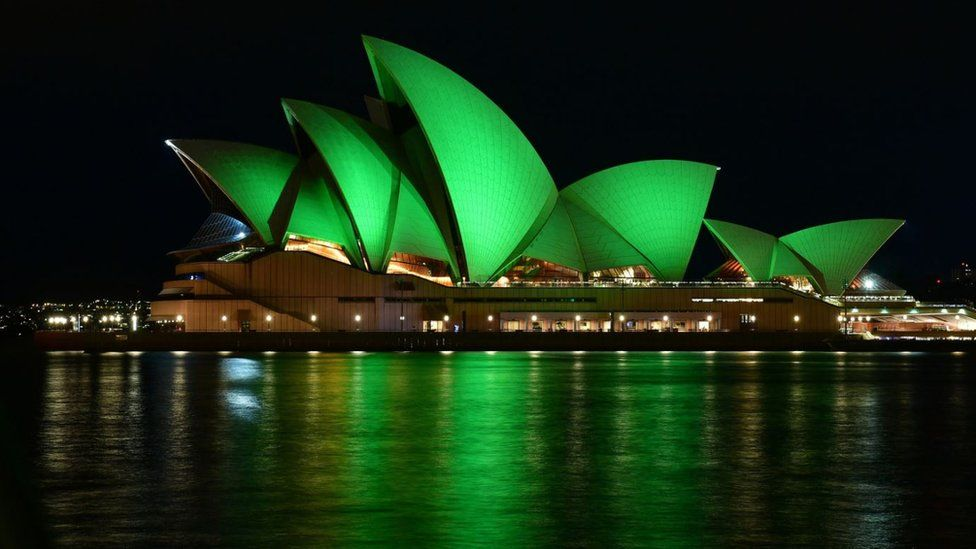 Sydney Opera House goes green for St Patrick