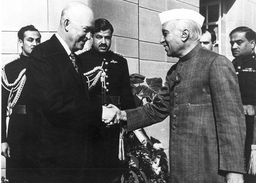 President Eisenhower (L) with Prime Minister Jawaharlal Nehru