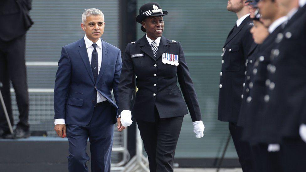 London Sadiq Khan (left) with Metropolitan Police Superintendent Novlett Robyn Williams (centre