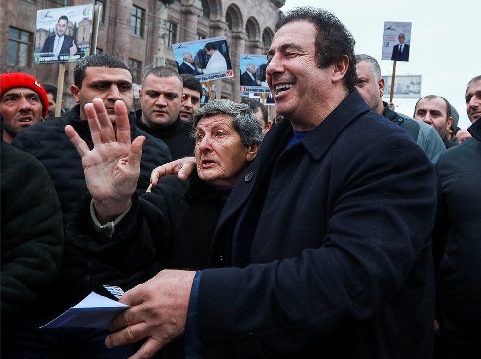 Armenian businessman Gagik Tsarukyan in a street in the city of Gyumri
