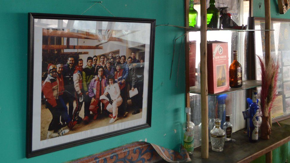 A photo of skiers hangs on the wall in the bar of the Chacaltaya ski resort