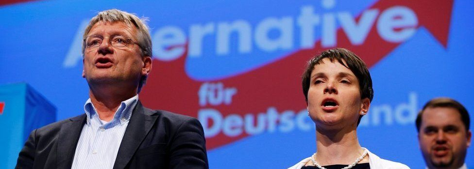 Frauke Petry, chairwoman of the anti-immigration party Alternative for Germany (AfD), and AfD leader Joerg Meuthen sing at the end of the second day of the AfD congress in Stuttgart, Germany, May 1, 2016.