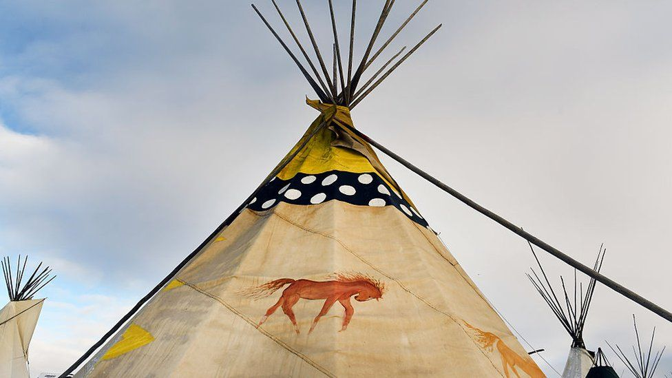 Image shows the Standing Rock Sioux Reservation in Cannon Ball, North Dakota